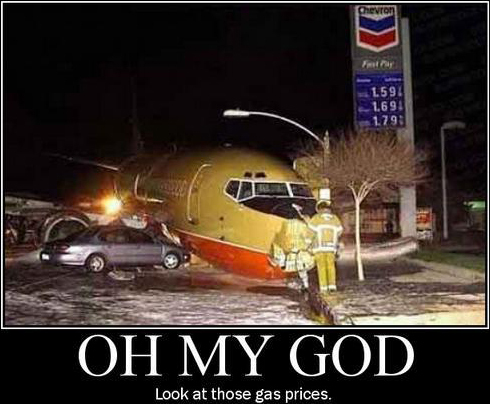 That plane is jacked up but those gas prices are low as crap