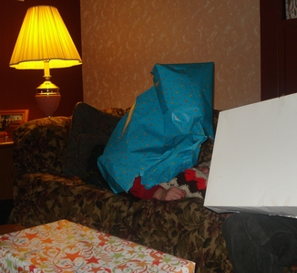 haha here i am! its me hidin under wrapper paper so u no sees my face *evil laugh*