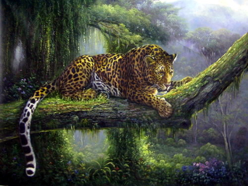 A beauitful painting of an African Leopard I found and thought was pretty and colorful. =) Hope you guys like it.