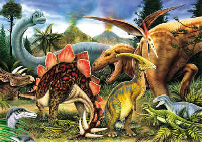 Lots of colorful dinosaurs. I think they're pretty.