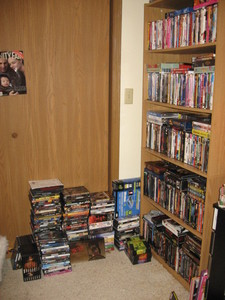 I collect DVD's!! I'm lebih than a little obsessed. I also collect gingerbread houses (but I don't have very many of those), magazines (just as many of those as I do DVD's), beanie bears (over 100), and cookbooks.