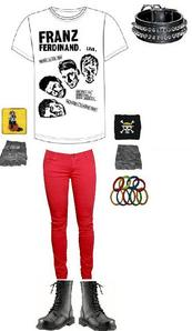 .Spiked воротник .Band Tee (Franz Ferdinand) .Sweatbands (Ouran High School Host Club and One Piece) .Leather fingerless gloves .LOTS of rings .Combact boots