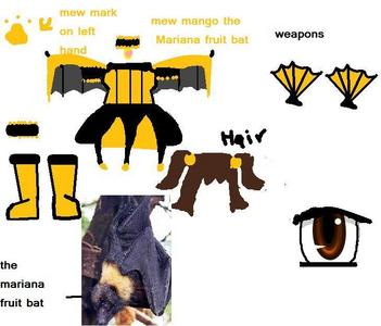 i would wanna be infused with a Mariana フルーツ bat omg i 愛 them sadly their endagered i would like to be black and ゴールド and my weapons would be japanese ファン that would be ゴールド and black oh and my attack would be slashing tornado spin wear it cut anything in it way so yeah the pic is of my mew mew outfit and the bat