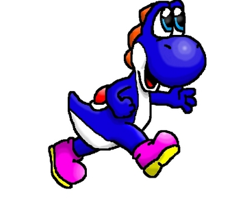 I'd be dark blue, since it's my favourite colour. And the picture is my drawing of a blue Yoshi. I hope you like it.