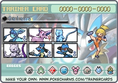 I've got my dream team & this is it; Lucario Mewtwo Mew Espeon Glaceon Riolu (I nicknamed it Riley cuz he's the one that gave it 2 me)