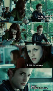 I hope আপনি can read it. If আপনি can't, here's what it says: Edward: Oh, God, something smells like fish. Bella: *sniff sniff* I think it's my vagina. Edward: Really? I thought it was mine. LMAO