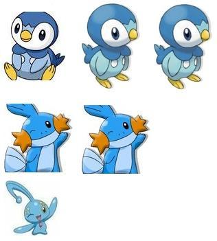 I'd like to have: Piplup Piplup Piplup Mudkip Mudkip Manaphy (i know i put Mudkip twice and piplup triple times)