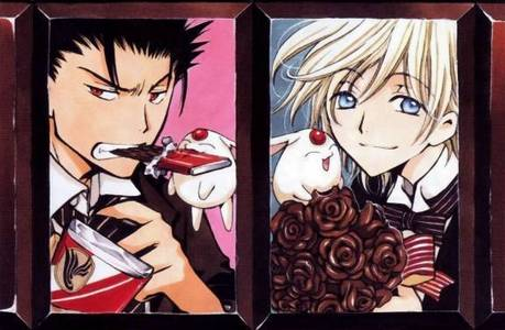 Fai-san and Kuro-puu from Tsubasa! of maybe Edward Elric from FMA. Ooooooh, but there is the Ouran High School Host Club! >////<
