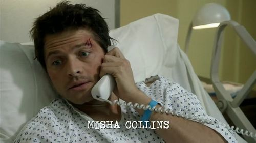 """After last weeks episode I went from optimistic about him staying alive to freakin' down right scared! I'm really anxious about Cas now that his mojo's been drained but I've still got a shred of hope he'll pull through. If he doesn't I don't think I can describe how devastated I'll be. I'm hoping all our boys make it through the finale. But don't worry. I think Cas is on the phone to Kripke right now asking if this """"Misha Collins"""" guy can stay on the show. See, subtitles xD"""
