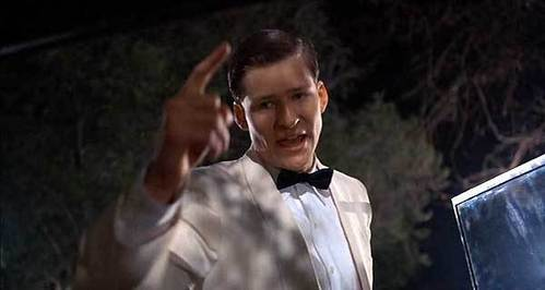 the part where young george mcfly decks biff and walks off with lorraine... always a crowd pleaser http://www.myteespot.com