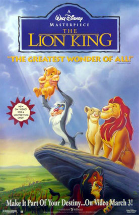 I have no idea when I first watched The Lion King, I have no memory of it, from when I was younger, I did have it on video and still do, I do remember getting 2 and watching that, but I've never got back into it, I've always just been too excited to watch it, if that makes sense, if not I'm just weird. Lol. But I do remember the last time I watched it and it still made me cry on Mufasa's death scene!