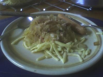 Spaetzle und SauerKraut. My first try at it ,and it was delicious.