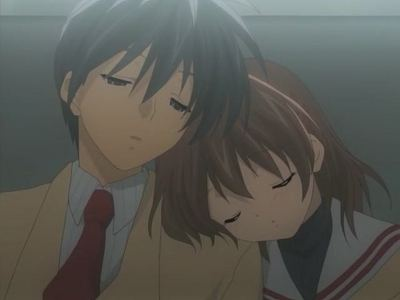 Nagisa and Tomoya sitting on a bench. Nagisa puts her head on Tomoya's shoulder then he puts his head on her's. They then fall asleep together. ~<3