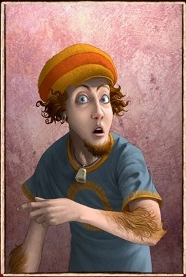 In the book he was white.  Here's a picture of him from Rick Riordan's website: