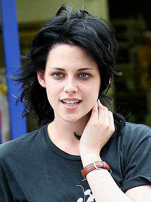 If toi mean the dark and short hair like the picture below, it was for a movie. Kristen is playing Joan Jett in a new movie called The Runaways, so she has to look the part.