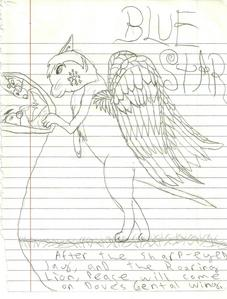 i drew bluestar...u like? sorry 'bout the lines...i ran out of scketch paper. at the bottom is the prophacy 'after the sharp-eyed jay and the roaring lion, peace will come on dove's gentle wing.' o, u could draw frostpool if u like.