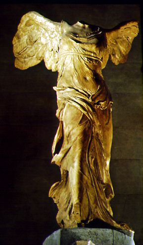 """Nike is the greek goddess of victory (in roman mythology her name is Victory) she is usually represented as a young woman with wings. Her most maarufu statue is """"Nike of Samothrace"""" (Louvre, Paris)"""