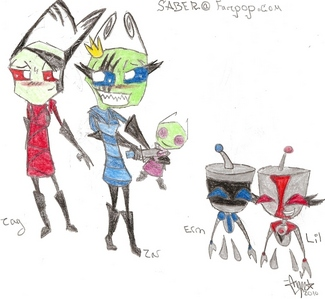 1. Zar (Female Irken) 2. Zag (Male Irken) 3. ERM (Zar's SIR) 4. Lil (Zag's SIR)