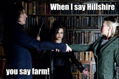 When I say Hillshire, tu say farm! Hillshire! Farm! GO MEAT!