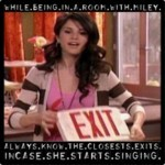 "Hate her, had a good 3 또는 4 years of a career then died, real hannah who's name is miley is a slut and my little famous words, SHE SHOULD DIE IN A HOLE!!!!! The pic says if 당신 cant see it ""WHILE BEING IN A ROOM WITH MILEY ALWAYS KNOW THE CLOSEST EXITS INCASE SHE STARTS SINGING"""