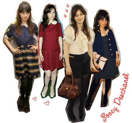 I have way too many, (though I prefer to just mix & match old with new). But one of them is Zooey Deschanel. {: