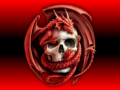 Red dragon on a skull. Don't look him in the eye! <Shivers>
