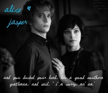 i like this one because it shows the sweetest side of ashley (alice) with jackson (jasper) and that words are remarkable for me ! and they are cute together <3
