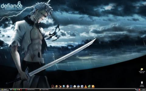 I always choose dark colours for my desktop 壁纸 and this one is just perfect with black and dark blue.....and Grimmjow <3 xD