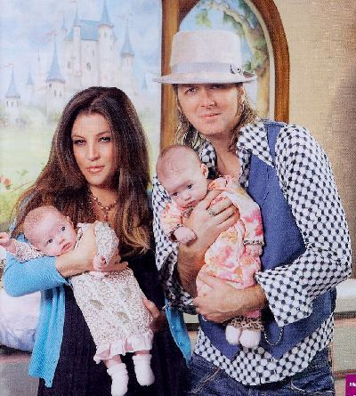 Lisa Marie Presley & Michael Lockwood. Michael's not really a celebrity though... Their twins are the cutest!!
