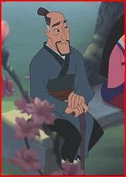 "4) Fa Zhou,       Movie:Mulan,        Voice:Soon Tek On,   Memorable quote(s): ""...Look this one's late, but I'll bet that it blooms it will be the most beautiful of all.  Pros. handsome, loving  Cons ""very up tight"""