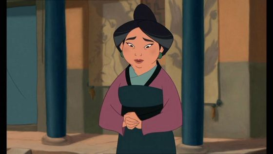 "5) Fa Li,     Movie:Mulan,       Voice:Freda Foh Shen,    Memorable Quote(s): ""None of your excuses; now let's get you cleaned up!""  Pros: pretty, loving, Cons: not much personality"