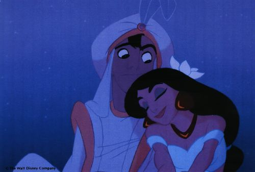 Jasmine is head over heels in love with Aladdin.