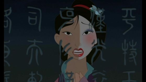 8.Mulan she eyes are kinda pretty the amond eyes of china they show her bravery wit though they don't compare to her great beauty