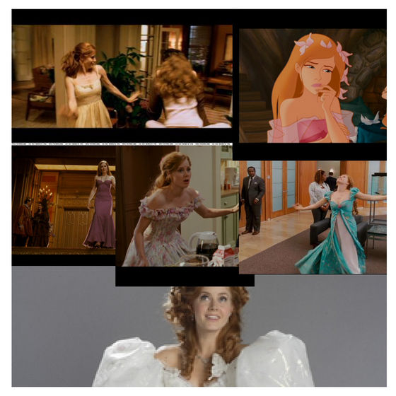 Here is Giselle's dresses:wedding dress,Pink dress,curtain dress,ball dress,rug dress and finally the yellow dress.