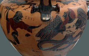 Zeus darting its lightning on Typhon. Side B from a Chalcidian black-figured hydria, ca. 550 BC.
