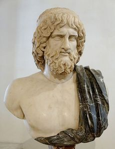 Bust of Hades. Marble, Roman copy after a Greek original from the 5th century BCE; the black mantle is a modern addition.