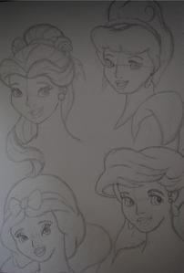 Sketches of Belle, Cinderella, Snow White, & Ariel