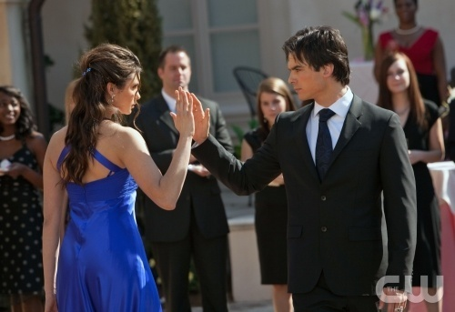 Dance! The eye-sex dicho it all, Damon standing up for Elena? Talking about humanity…