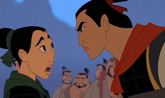 "Shang: ""I don't need anyone causing trouble in my camp"" Mulan (with girly voice) ""Sorry..."""