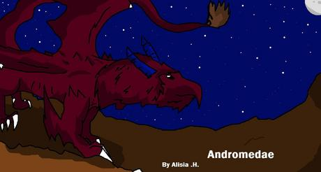 Dragon name: Andromedae Details: Color; Red, Horns: Blue, Tail: Furr, Brown Andromedae has sharp cl