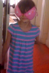 My sister with a bra on her head...haha she saw it in walmart or something and threw a tantrum so my