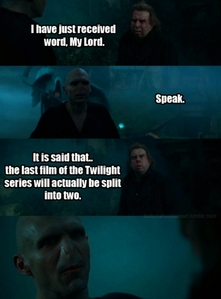 Even Voldemort isn't impressed. There's not enough things in BD to विभाजित करें, विभक्त करें it in two.