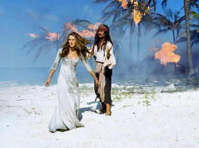 my favorito! moment/scene from all three cine is when jack and elizabeth are stranded on the island