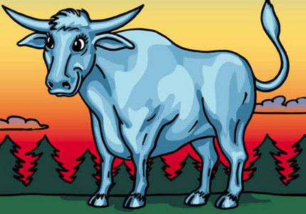 an ox? seriously? blue enough!!!! a...... lollipop!!!