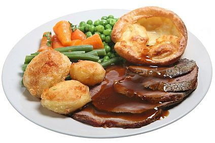 In Yorkshire we are famous for the Yorkshire puding ! anda can eat it in many different ways but we m