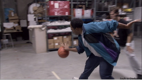 How about Dwight cutting through he box he was hiding in?