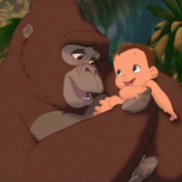 Baby Tarzan and Kala: