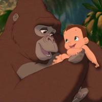 Baby Tarzan and Kala:
