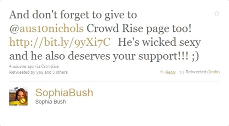 Same here! Hmmmm. We'll see, then! OMFG Sophia cespuglio, bush just tweeted this! Gotta Amore Sophin! <3