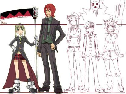 Maka about 1.52 Spirit about 1.8 Liz about 1.65 Kid about 1.55 Patty about 1.58 and...Shinigami-sama.